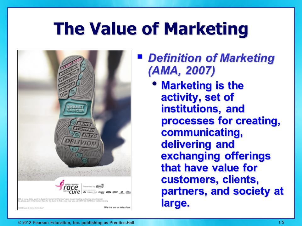 © 2012 Pearson Education, Inc. publishing as Prentice-Hall. 1-5 The Value of Marketing Definition of Marketing (AMA, 2007) Definition of Marketing (AM