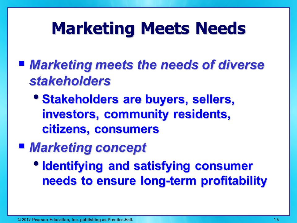 © 2012 Pearson Education, Inc. publishing as Prentice-Hall. 1-6 Marketing Meets Needs Marketing meets the needs of diverse stakeholders Marketing meet