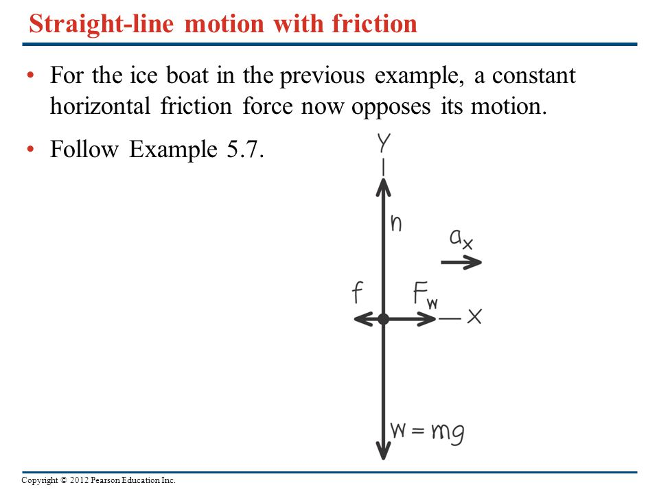 Copyright © 2012 Pearson Education Inc. Straight-line motion with friction For the ice boat in the previous example, a constant horizontal friction fo