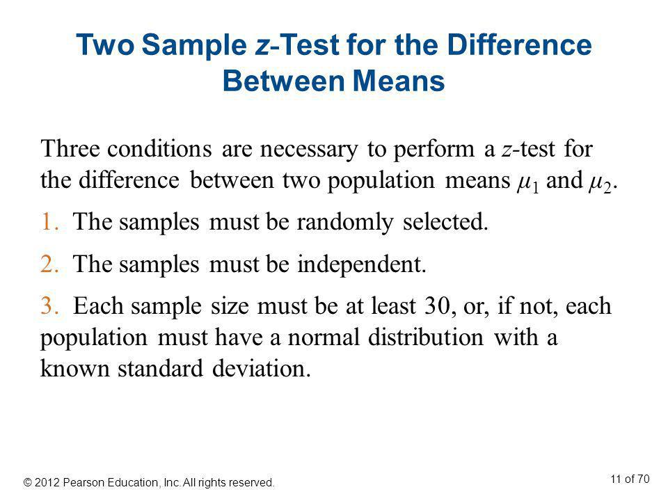 Two Sample z - Test for the Difference Between Means Three conditions are necessary to perform a z-test for the difference between two population mean