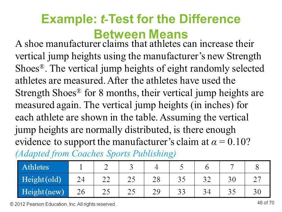 Example: t - Test for the Difference Between Means Athletes12345678 Height (old)2422252835323027 Height (new)2625 2933343530 A shoe manufacturer claim