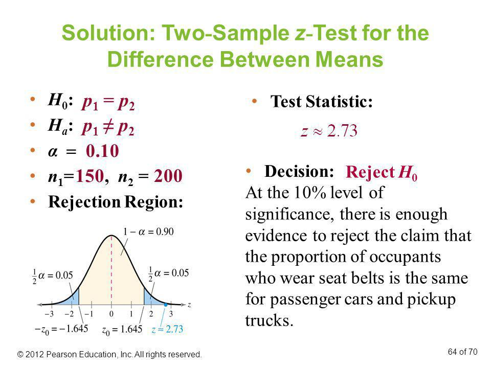 Solution: Two - Sample z - Test for the Difference Between Means H 0 : H a : α n 1 =, n 2 = Rejection Region: Test Statistic: 0.10 150 200 p 1 = p 2 p
