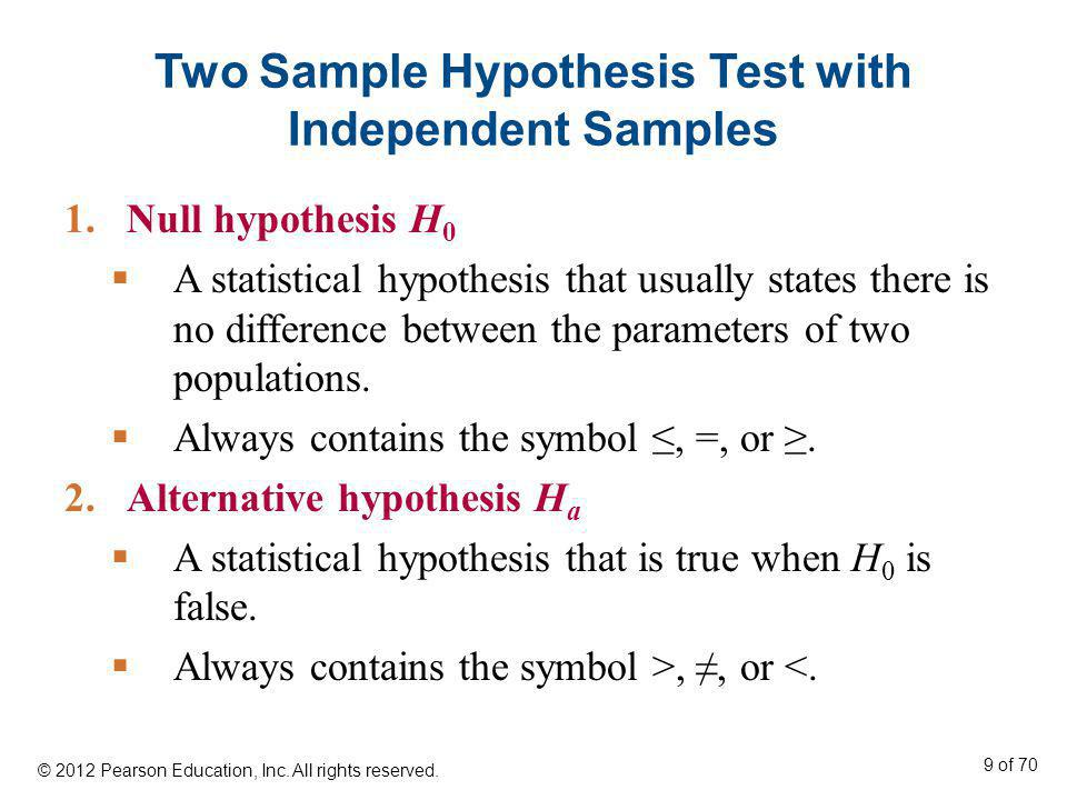 Two Sample Hypothesis Test with Independent Samples 1.Null hypothesis H 0 A statistical hypothesis that usually states there is no difference between