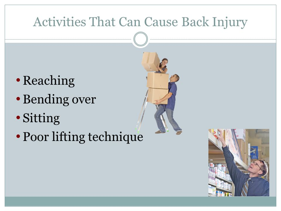 Activities That Can Cause Back Injury Reaching Bending over Sitting Poor lifting technique