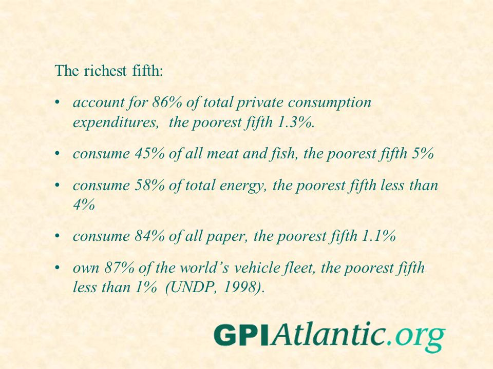The richest fifth: account for 86% of total private consumption expenditures, the poorest fifth 1.3%. consume 45% of all meat and fish, the poorest fi