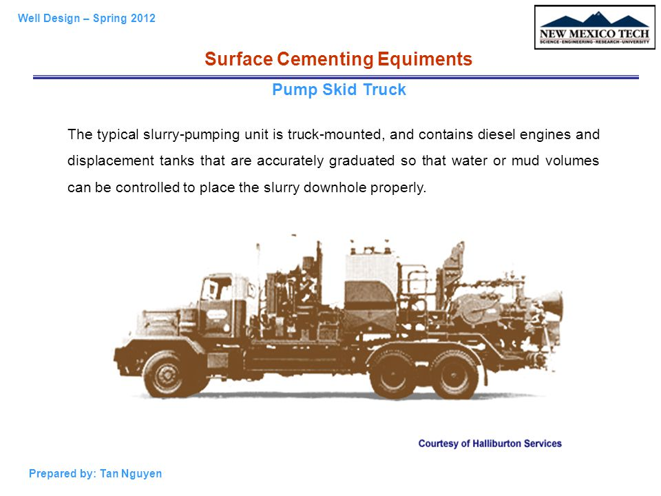 Well Design – Spring 2012 Prepared by: Tan Nguyen Cement Head Surface Cementing Equiments
