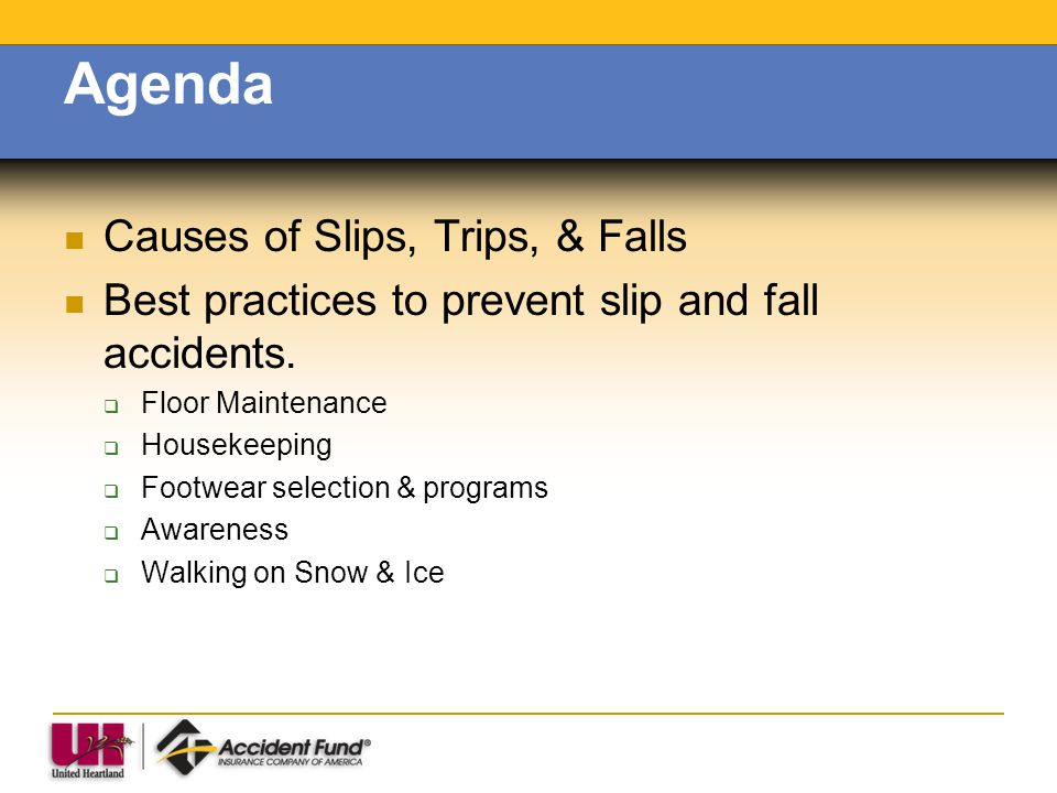 Agenda Causes of Slips, Trips, & Falls Best practices to prevent slip and fall accidents. Floor Maintenance Housekeeping Footwear selection & programs