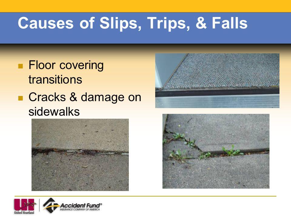 Causes of Slips, Trips, & Falls Floor covering transitions Cracks & damage on sidewalks