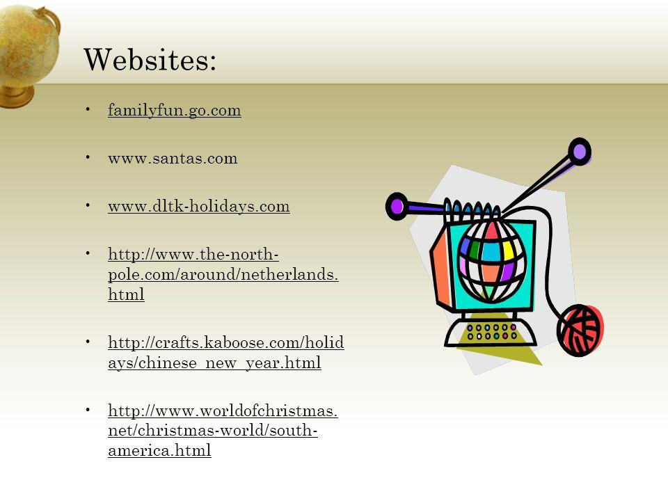 Websites: familyfun.go.com www.santas.com www.dltk-holidays.com http://www.the-north- pole.com/around/netherlands. htmlhttp://www.the-north- pole.com/