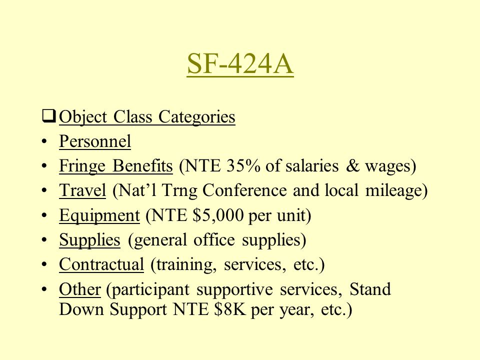 SF-424A Object Class Categories Personnel Fringe Benefits (NTE 35% of salaries & wages) Travel (Natl Trng Conference and local mileage) Equipment (NTE $5,000 per unit) Supplies (general office supplies) Contractual (training, services, etc.) Other (participant supportive services, Stand Down Support NTE $8K per year, etc.)