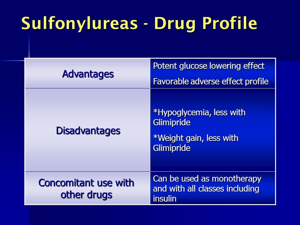Sulfonylureas - Drug Profile Advantages Potent glucose lowering effect Favorable adverse effect profile Disadvantages *Hypoglycemia, less with Glimipr