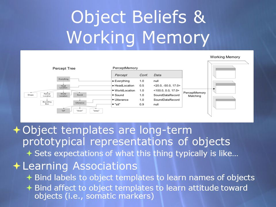 Object Beliefs & Working Memory Object templates are long-term prototypical representations of objects Sets expectations of what this thing typically is like… Learning Associations Bind labels to object templates to learn names of objects Bind affect to object templates to learn attitude toward objects (i.e., somatic markers) Object templates are long-term prototypical representations of objects Sets expectations of what this thing typically is like… Learning Associations Bind labels to object templates to learn names of objects Bind affect to object templates to learn attitude toward objects (i.e., somatic markers)