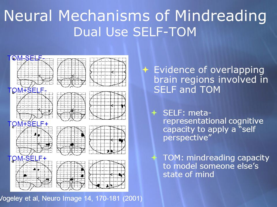 Neural Mechanisms of Mindreading Dual Use SELF-TOM Evidence of overlapping brain regions involved in SELF and TOM SELF: meta- representational cognitive capacity to apply a self perspective TOM: mindreading capacity to model someone elses state of mind Evidence of overlapping brain regions involved in SELF and TOM SELF: meta- representational cognitive capacity to apply a self perspective TOM: mindreading capacity to model someone elses state of mind TOM+SELF+ TOM-SELF+ TOM+SELF- TOM-SELF- Vogeley et al, Neuro Image 14, 170-181 (2001)