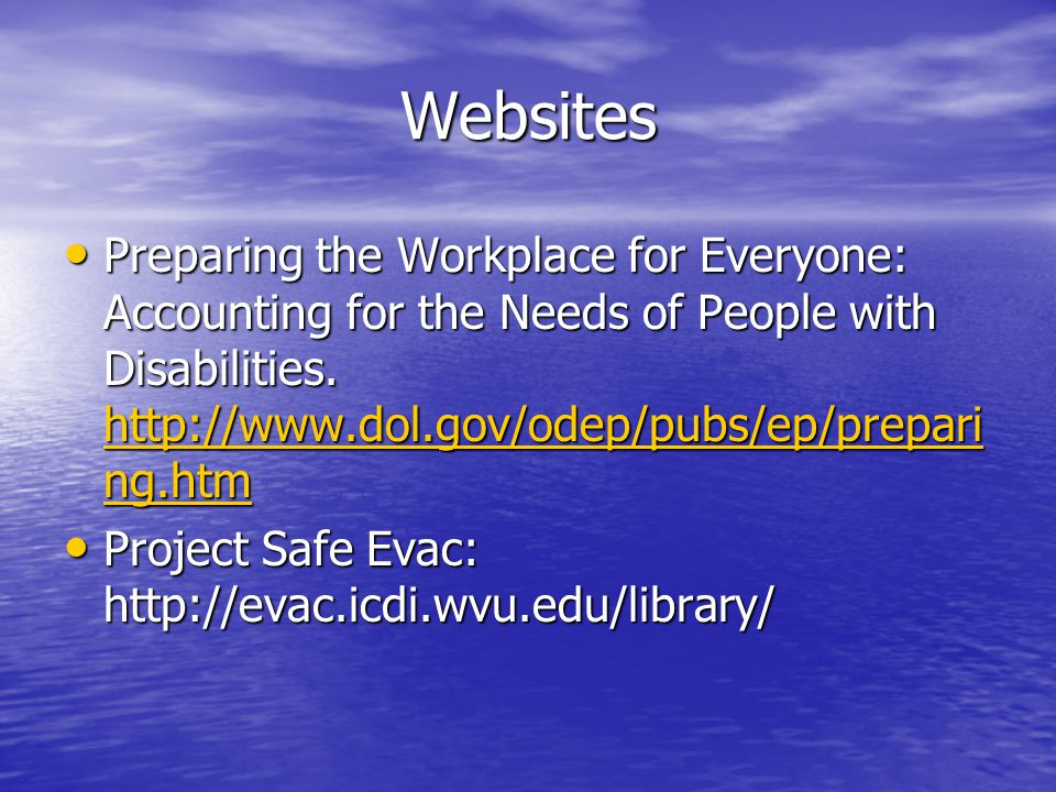 Websites Preparing the Workplace for Everyone: Accounting for the Needs of People with Disabilities.