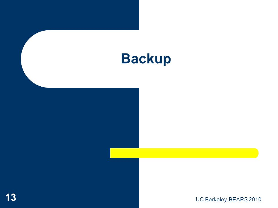 UC Berkeley, BEARS 2010 13 Backup