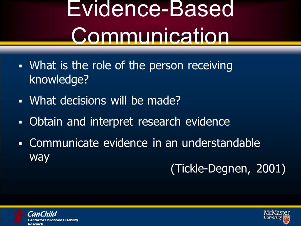 Evidence-Based Communication What is the role of the person receiving knowledge? What decisions will be made? Obtain and interpret research evidence C