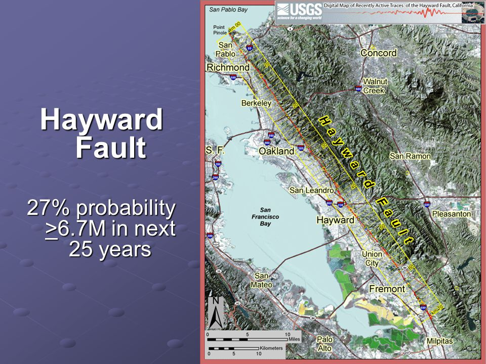 Hayward Fault 27% probability >6.7M in next 25 years