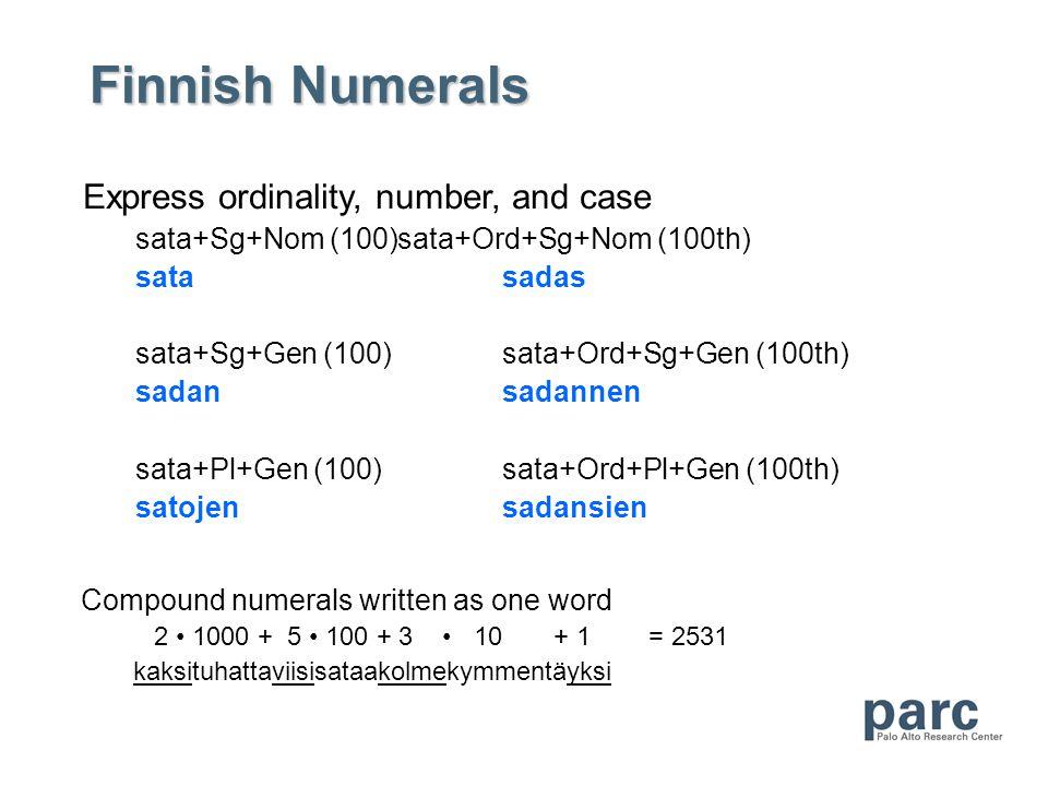 Finnish Numerals Compound numerals written as one word 2 1000 + 5 100 + 3 10 + 1 = 2531 kaksituhattaviisisataakolmekymmentäyksi Express ordinality, number, and case sata+Sg+Nom (100)sata+Ord+Sg+Nom (100th) satasadas sata+Sg+Gen (100)sata+Ord+Sg+Gen (100th) sadansadannen sata+Pl+Gen (100)sata+Ord+Pl+Gen (100th) satojensadansien