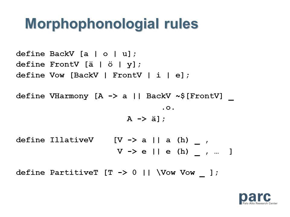 Morphophonologial rules define BackV [a | o | u]; define FrontV [ä | ö | y]; define Vow [BackV | FrontV | i | e]; define VHarmony [A -> a || BackV ~$[FrontV] _.o.