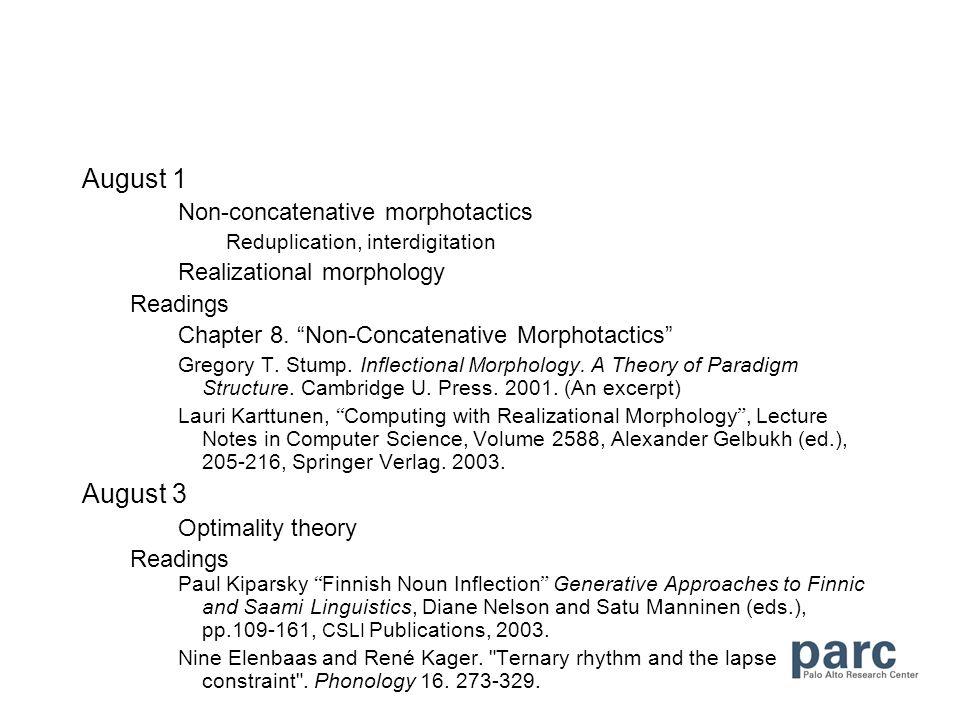 August 1 Non-concatenative morphotactics Reduplication, interdigitation Realizational morphology Readings Chapter 8.