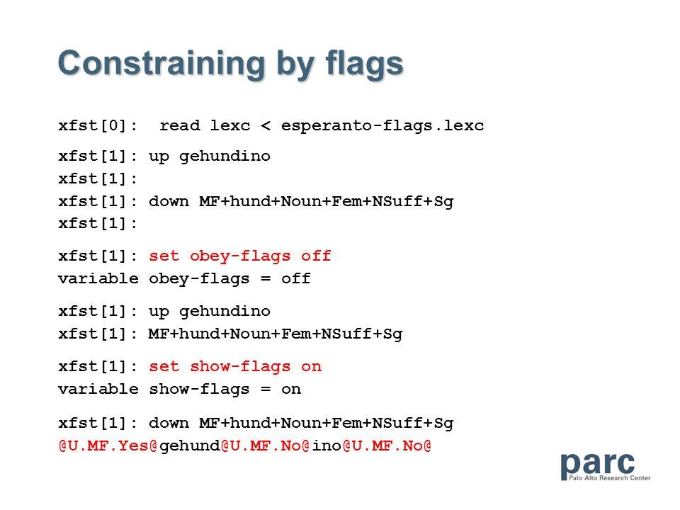 Constraining by flags xfst[0]: read lexc < esperanto-flags.lexc xfst[1]: up gehundino xfst[1]: xfst[1]: down MF+hund+Noun+Fem+NSuff+Sg xfst[1]: xfst[1]: set obey-flags off variable obey-flags = off xfst[1]: up gehundino xfst[1]: MF+hund+Noun+Fem+NSuff+Sg xfst[1]: set show-flags on variable show-flags = on xfst[1]: down MF+hund+Noun+Fem+NSuff+Sg @U.MF.Yes@gehund@U.MF.No@ino@U.MF.No@