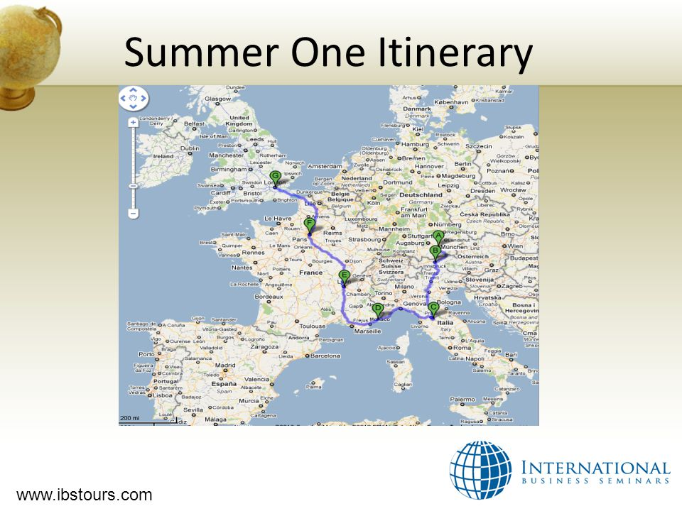 www.ibstours.com Summer One Itinerary