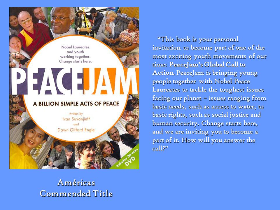 This book is your personal invitation to become part of one of the most exciting youth movements of our time: PeaceJams Global Call to Action. PeaceJa
