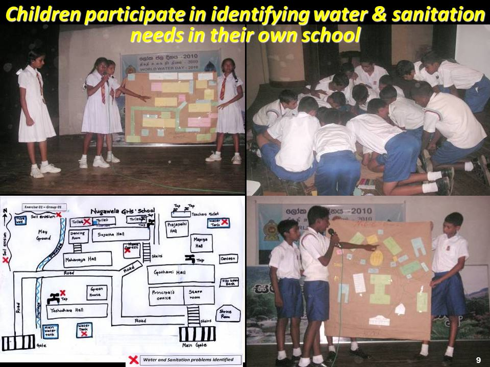 Children participate in identifying water & sanitation needs in their own school 9