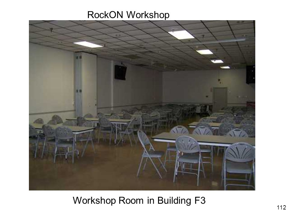 113 RockON Workshop Workshop Room in Building F3, looking the Other way and showing the projection screen