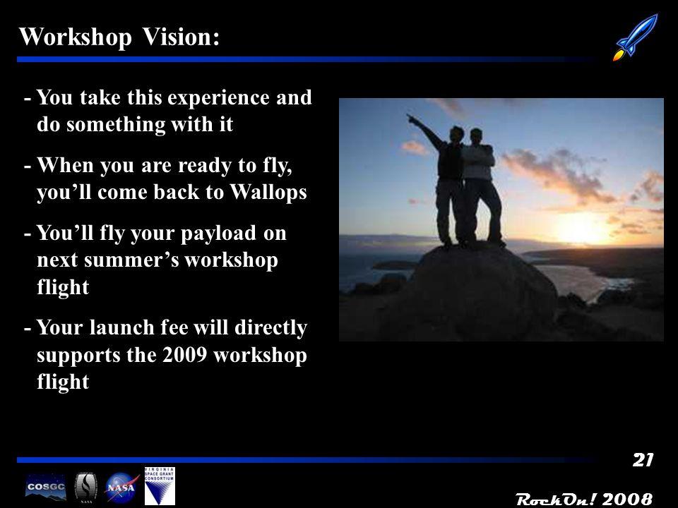 RockOn! 2008 22 Workshop Origins: - Based the successful Boulder BalloonSat workshop