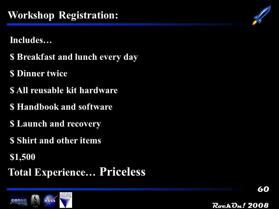 RockOn! 2008 61 Workshop Preparations: - All that said, we think were ready…