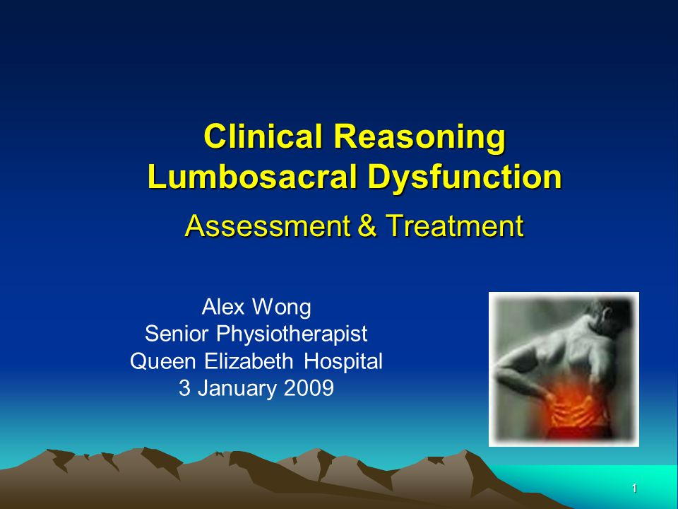 1 Alex Wong Senior Physiotherapist Queen Elizabeth Hospital 3 January 2009 Clinical Reasoning Lumbosacral Dysfunction Assessment & Treatment