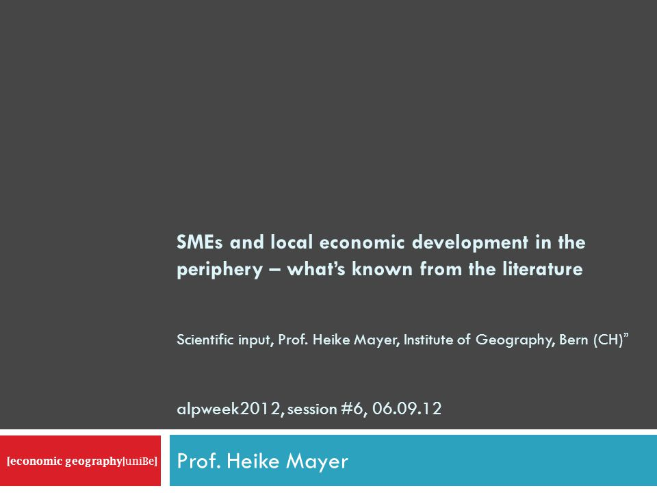 SMEs and local economic development in the periphery – whats known from the literature Scientific input, Prof.
