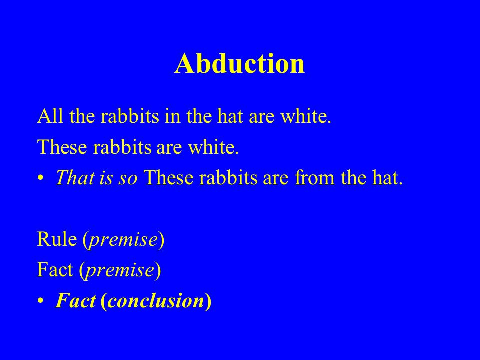 Abduction All the rabbits in the hat are white. These rabbits are white.