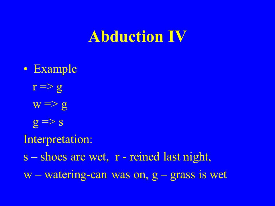 Abduction IV Example r => g w => g g => s Interpretation: s – shoes are wet, r - reined last night, w – watering-can was on, g – grass is wet