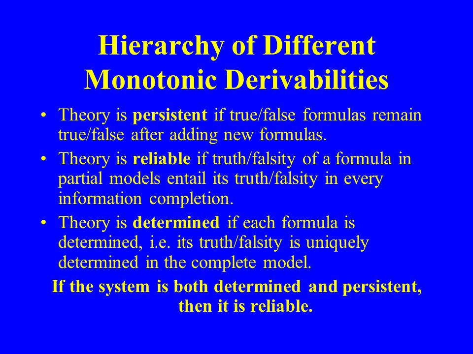 Hierarchy of Different Monotonic Derivabilities Theory is persistent if true/false formulas remain true/false after adding new formulas.