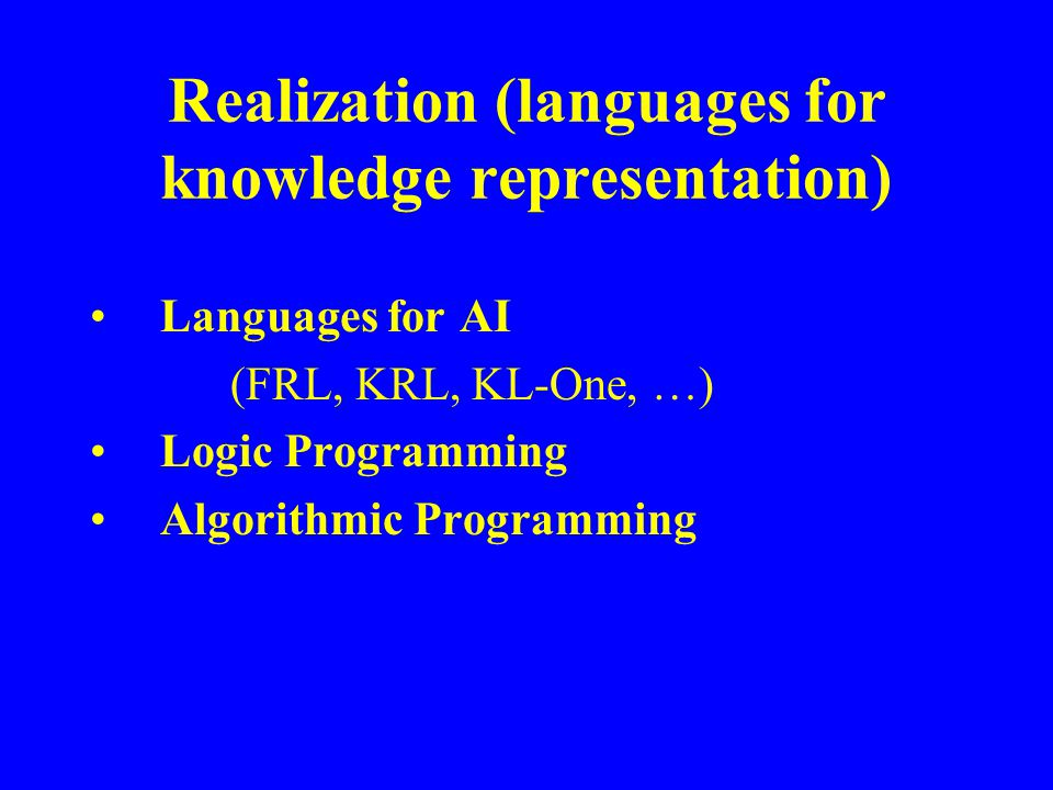 Realization (languages for knowledge representation) Languages for AI (FRL, KRL, KL-One, …) Logic Programming Algorithmic Programming