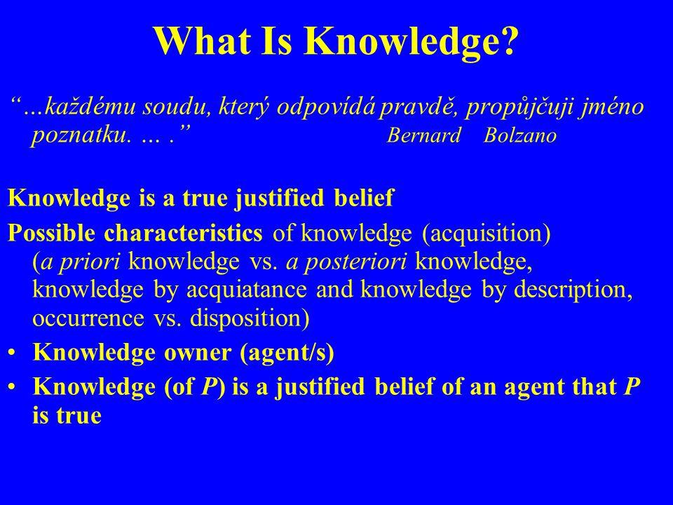 What Is Knowledge. …každému soudu, který odpovídá pravdě, propůjčuji jméno poznatku.