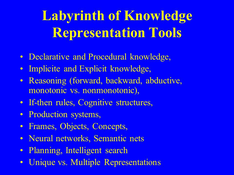 Labyrinth of Knowledge Representation Tools Declarative and Procedural knowledge, Implicite and Explicit knowledge, Reasoning (forward, backward, abductive, monotonic vs.