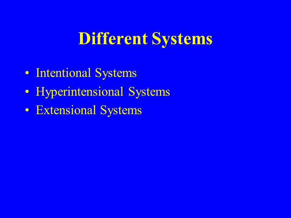 Different Systems Intentional Systems Hyperintensional Systems Extensional Systems