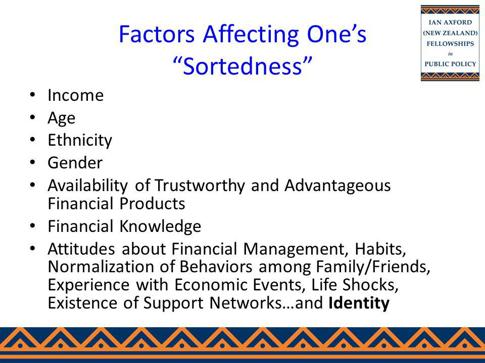 Factors Affecting Ones Sortedness Income Age Ethnicity Gender Availability of Trustworthy and Advantageous Financial Products Financial Knowledge Attitudes about Financial Management, Habits, Normalization of Behaviors among Family/Friends, Experience with Economic Events, Life Shocks, Existence of Support Networks…and Identity