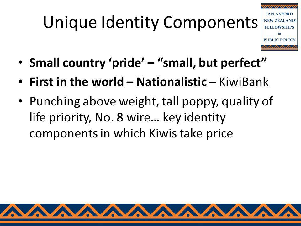 Unique Identity Components Small country pride – small, but perfect First in the world – Nationalistic – KiwiBank Punching above weight, tall poppy, quality of life priority, No.