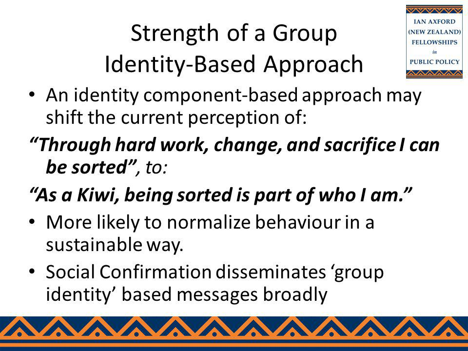 Strength of a Group Identity-Based Approach An identity component-based approach may shift the current perception of: Through hard work, change, and sacrifice I can be sorted, to: As a Kiwi, being sorted is part of who I am.