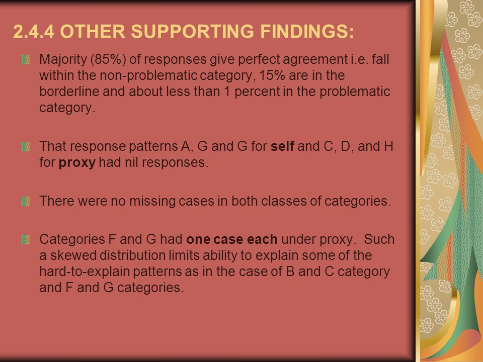 2.4.4 OTHER SUPPORTING FINDINGS: Majority (85%) of responses give perfect agreement i.e.