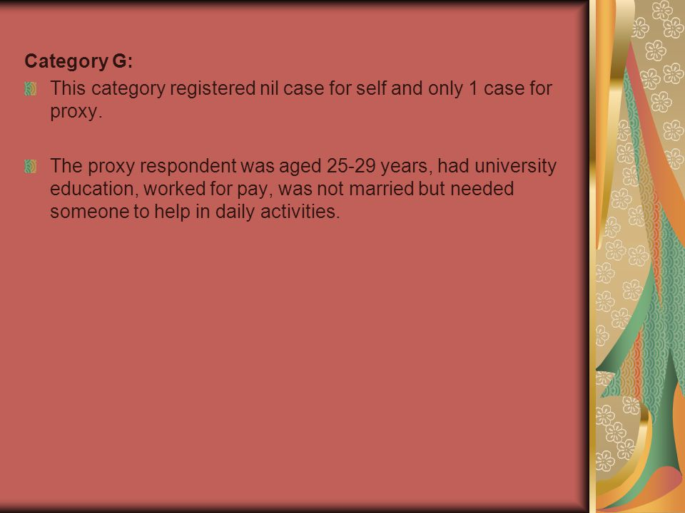 Category G: This category registered nil case for self and only 1 case for proxy.