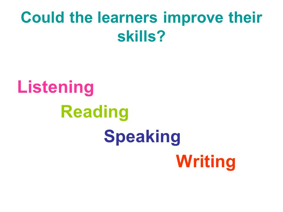 Could the learners improve their skills? Listening Reading Speaking Writing