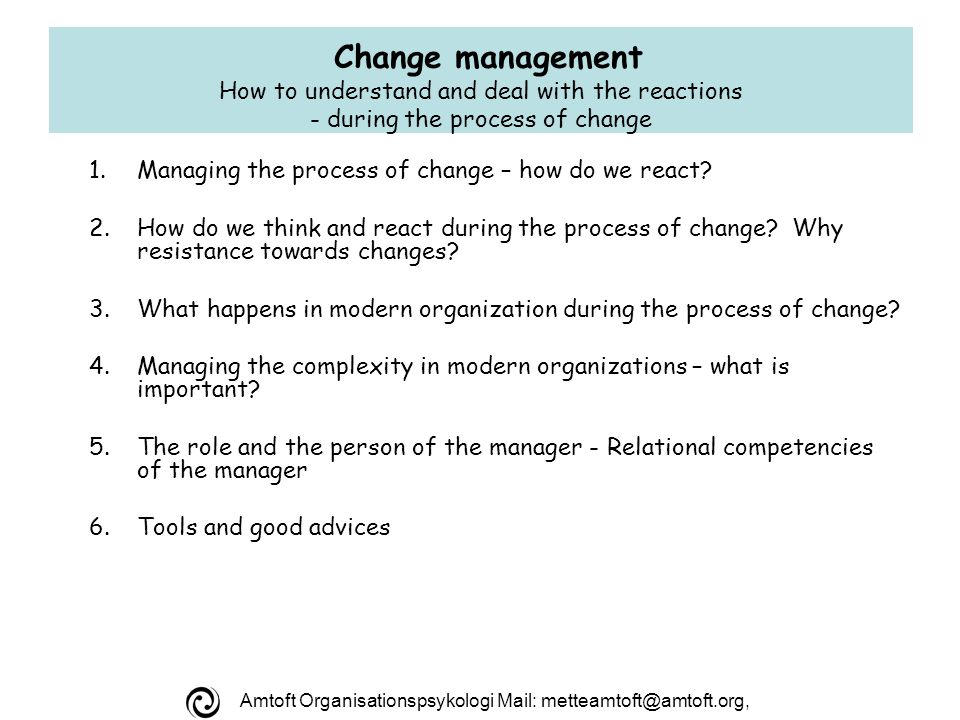Amtoft Organisationspsykologi Mail: metteamtoft@amtoft.org, TID knowledge Decisions Reviews Feed-back Evaluation Improvisation New knowledge: embarrassing or useful.