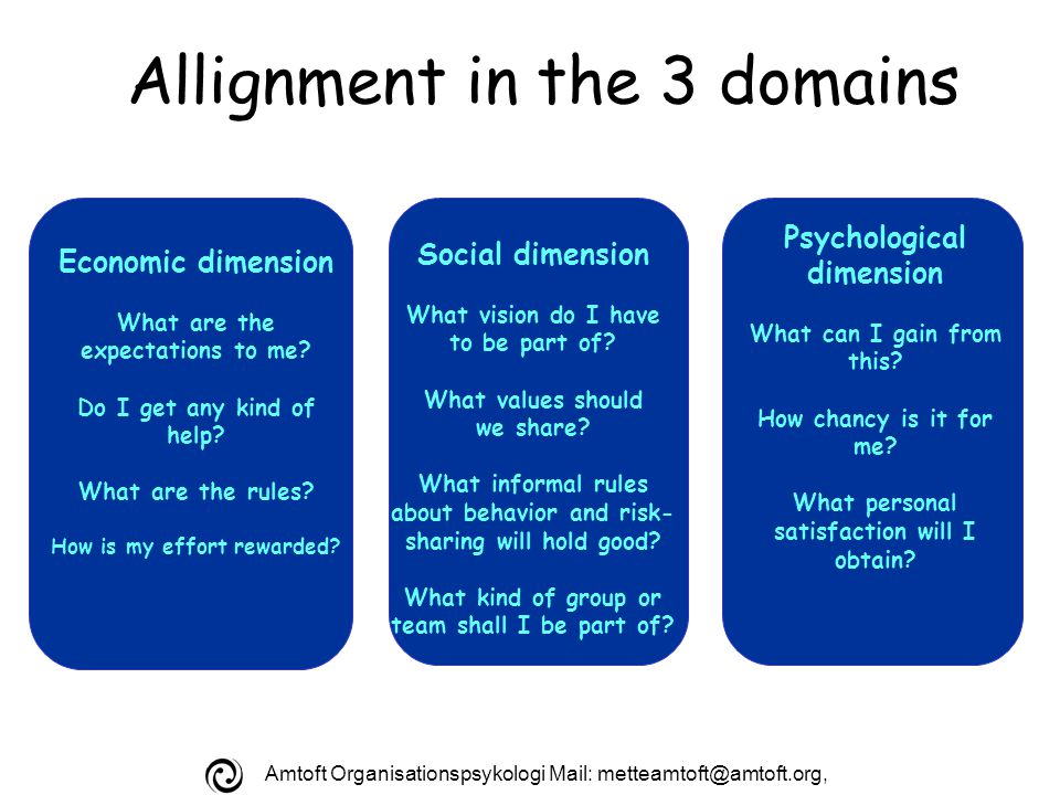 Amtoft Organisationspsykologi Mail: Allignment in the 3 domains Economic dimension What are the expectations to me.