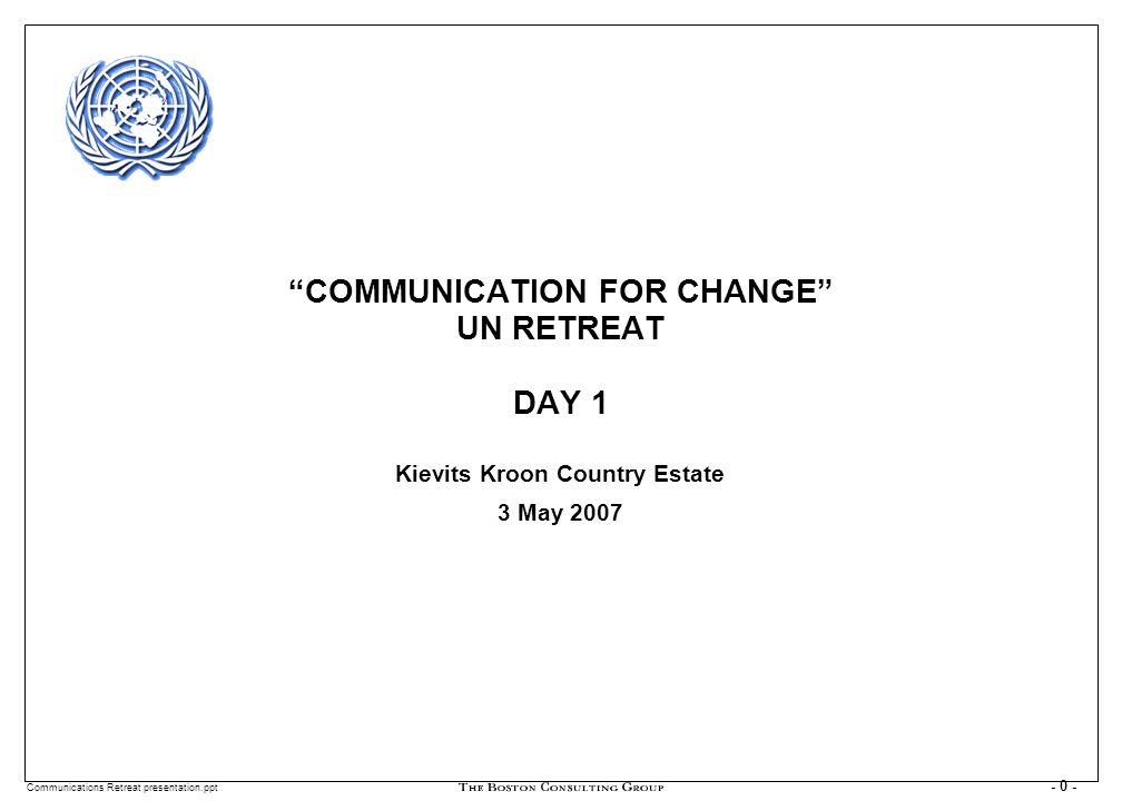 Communications Retreat presentation.ppt - 1 - DAY ONE AM SEATING PLAN Michael Coleman (Viet) Nora Kushti (Alb) Cyriaque Ngoboka (RW) Peter Reeh (Moz) Zarak Saleem Jan (Pak) Esteban Zunin (Uru) Nora Godwin (UNICEF) Manoel de A.