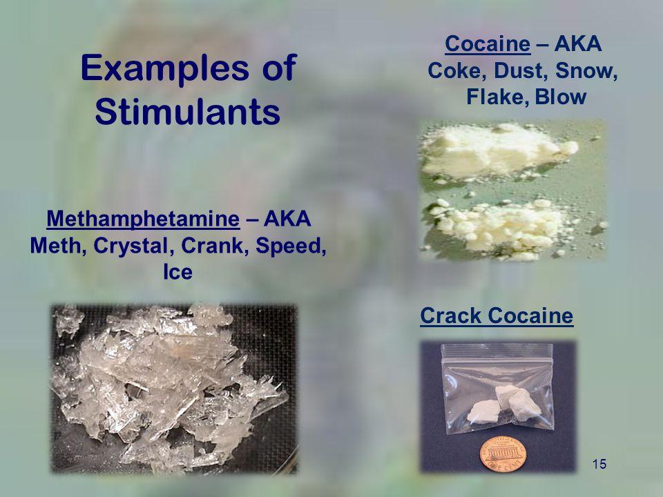 15 Examples of Stimulants Methamphetamine – AKA Meth, Crystal, Crank, Speed, Ice Cocaine – AKA Coke, Dust, Snow, Flake, Blow Crack Cocaine